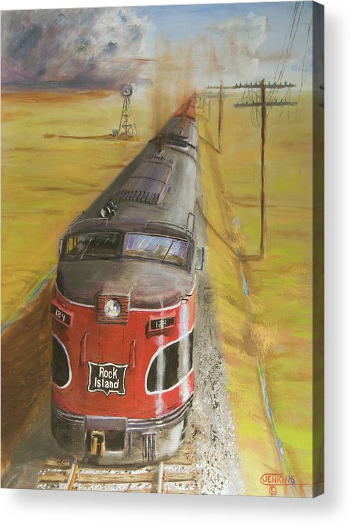 Train Acrylic Print featuring the painting Near Thistle Ks by Christopher Jenkins