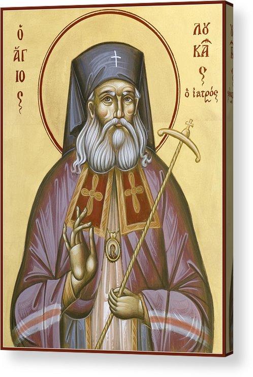 St Luke Of The Surgeon Acrylic Print featuring the painting St Luke The Surgeon Of Simferopol by Julia Bridget Hayes