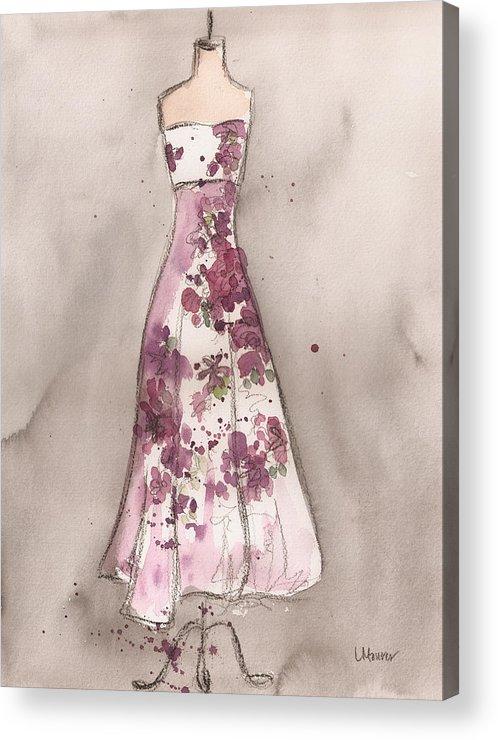 Vintage Dress Acrylic Print featuring the painting Vintage Romance Dress by Lauren Maurer