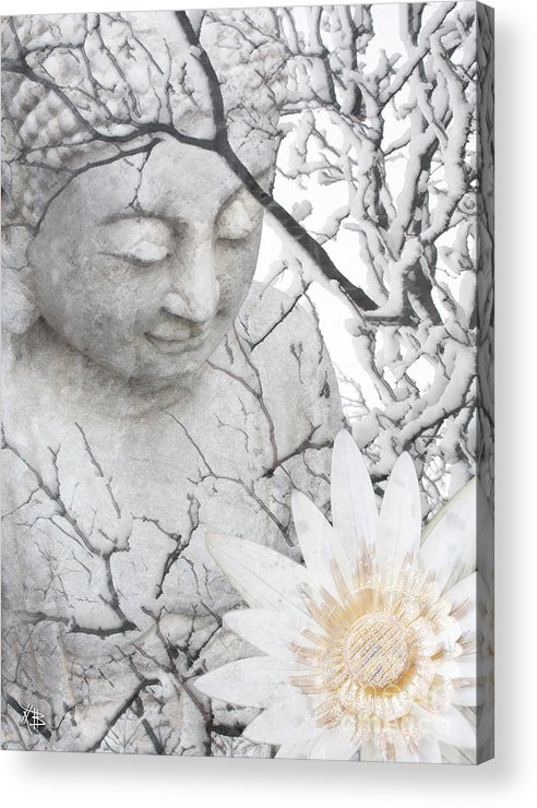 Buddha Acrylic Print featuring the mixed media Warm Winter's Moment by Christopher Beikmann