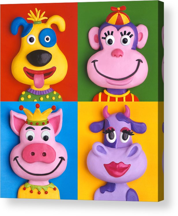 Animal Acrylic Print featuring the painting Four Animal Faces by Amy Vangsgard