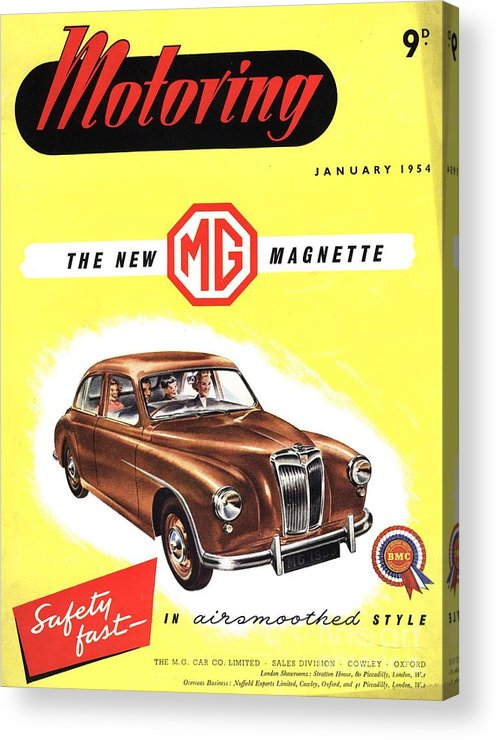 1950�s Acrylic Print featuring the drawing 1950s Uk Cars Mg Magnette Covers by The Advertising Archives