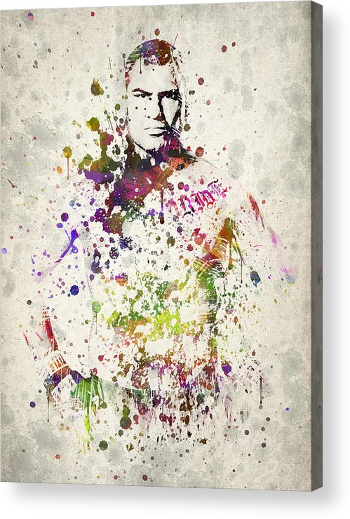 Cain Velasquez Acrylic Print featuring the drawing Cain Velasquez by Aged Pixel