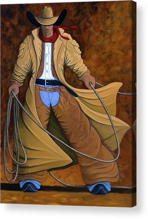 Contemporary Western Acrylic Print featuring the painting Cody by Lance Headlee