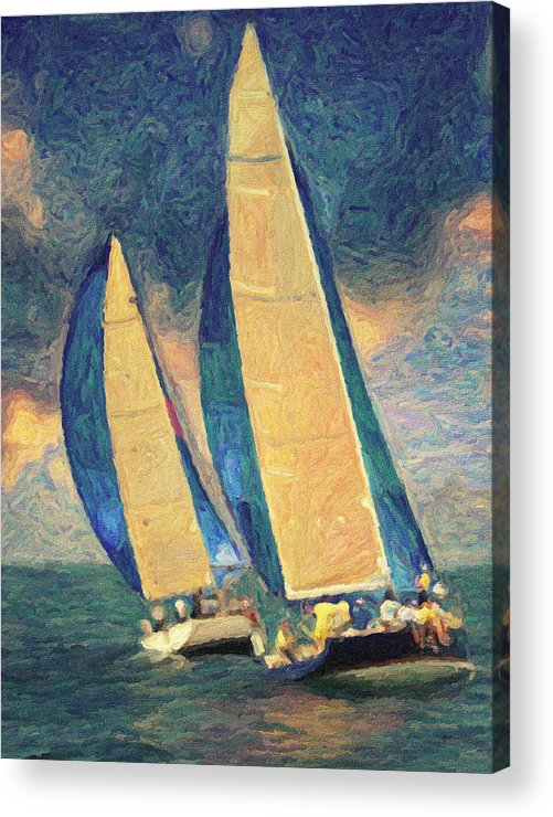 Oil Painting Acrylic Print featuring the painting Costa Smeralda by Taylan Soyturk