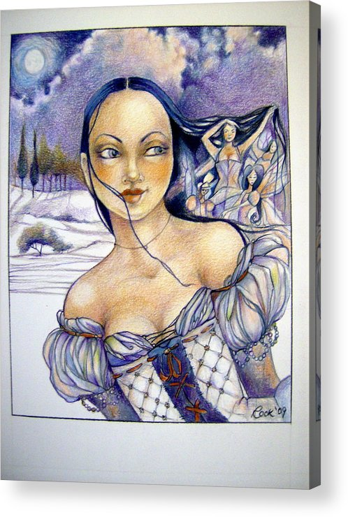 Moon Fairies Blue Snow Woman Acrylic Print featuring the drawing Pandora by Jackie Rock