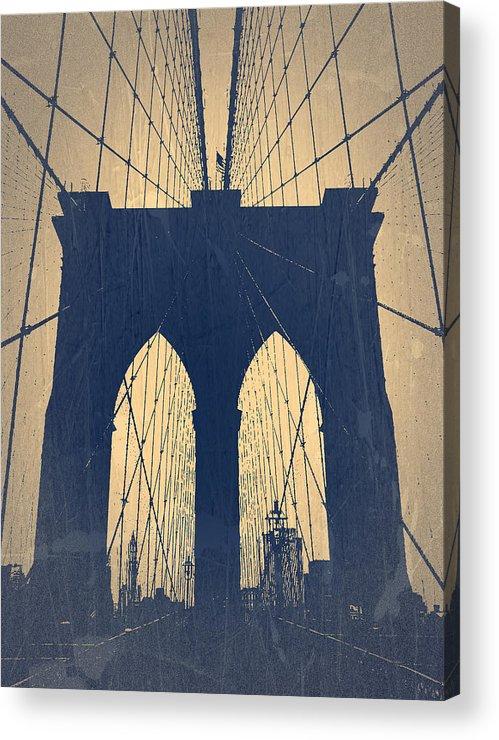 Brooklyn Bridge Acrylic Print featuring the photograph Brooklyn Bridge Blue by Naxart Studio