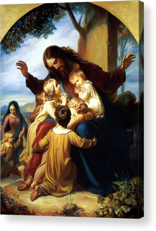Let The Children Come To Me Print Acrylic Print featuring the painting Let The Children Come To Me by Carl Vogel von Vogelstein