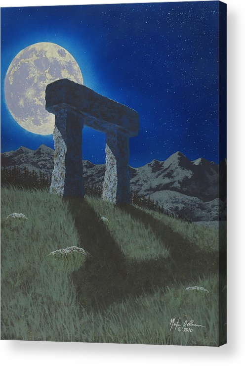 Moon Acrylic Print featuring the painting Moon Gate by Martin Bellmann