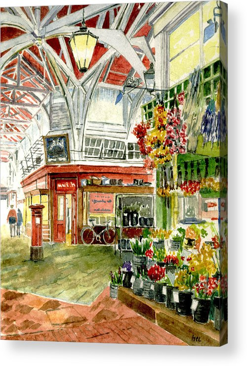Apples Acrylic Print featuring the painting Oxford's Covered Market by Mike Lester