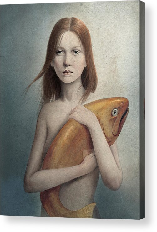 Woman Acrylic Print featuring the digital art Pet by Diego Fernandez