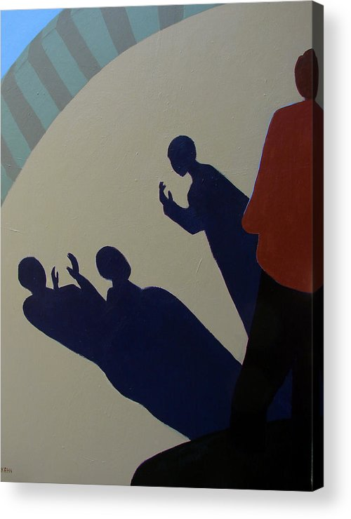 Talking Acrylic Print featuring the painting Shadow Talk by Renee Kahn