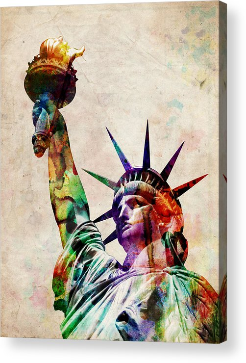 Statue Of Liberty Acrylic Print featuring the digital art Statue Of Liberty by Michael Tompsett