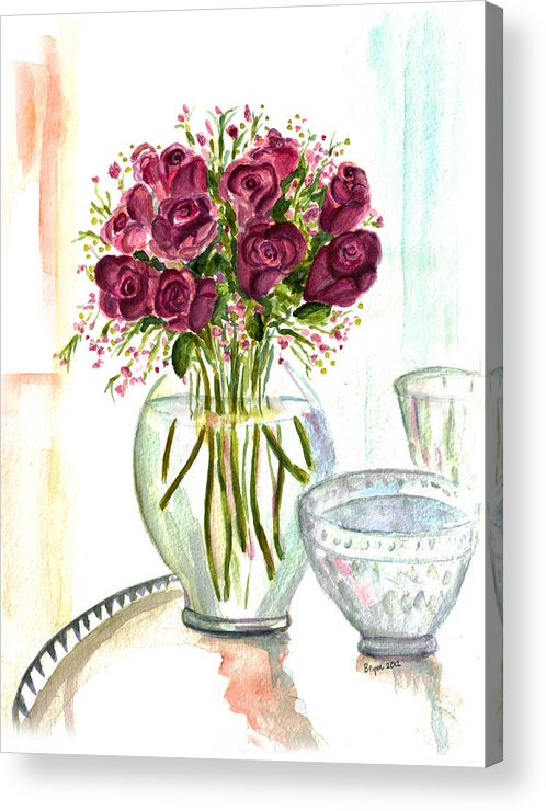 Roses Acrylic Print featuring the painting Valentines Crystal Rose by Clara Sue Beym