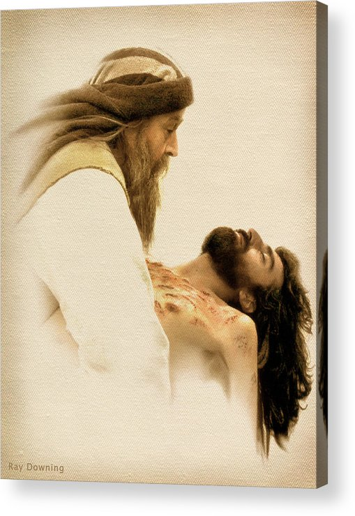 Jesus Acrylic Print featuring the digital art Jesus Laid To Rest by Ray Downing