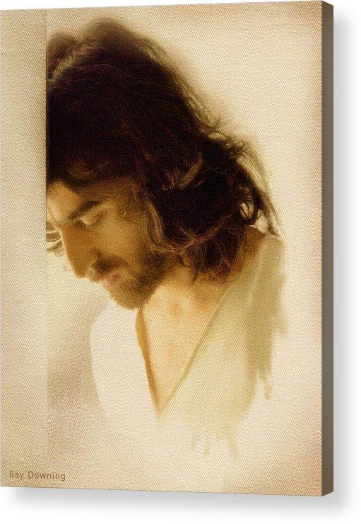 Jesus Acrylic Print featuring the digital art Jesus Praying by Ray Downing