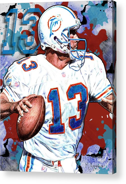 Dan Marino Acrylic Print featuring the drawing First And Ten by Maria Arango