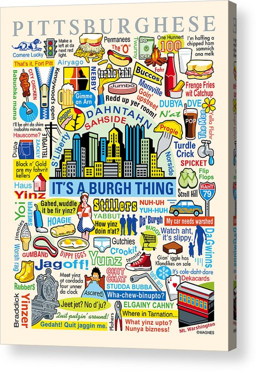 Pittsburgh Acrylic Print featuring the digital art Pittsburghese by Ron Magnes