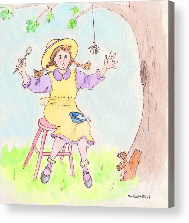 Miss Muffet Spider Squirrel Porridge Acrylic Print featuring the drawing Along Came A Spider Little Miss Muffet by Marybeth Friel-Patton