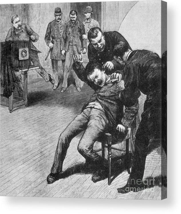 History Acrylic Print featuring the photograph Anarchist Being Held Down For Mug Shot by Photo Researchers