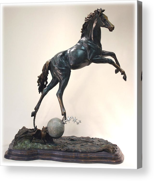 Bronze Acrylic Print featuring the sculpture The Moonhorse Bronze by Dawn Senior-Trask