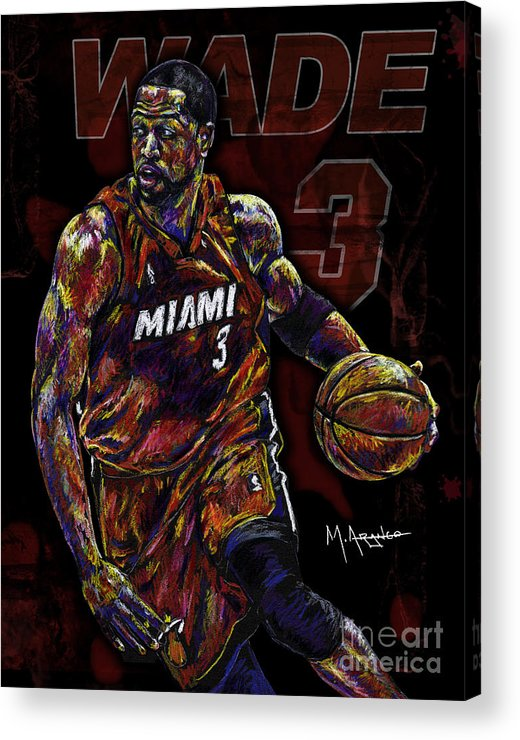 Dwyane Wade Acrylic Print featuring the drawing Wade by Maria Arango
