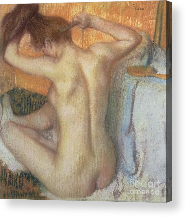 Back; Comb; Brush; Hair; Nude; Impressionist; Female; Se Coiffer; Peigne; Dos; Coiffant Acrylic Print featuring the pastel Woman Combing Her Hair by Edgar Degas