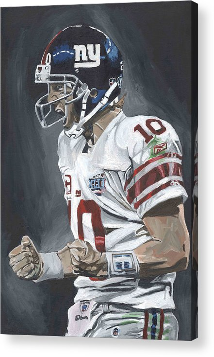 Eli Manning New York Giants Super Bowl Mvp Quarterback Nfl David Courson Sports Art Football Acrylic Print featuring the painting Eli Manning Super Bowl Mvp by David Courson