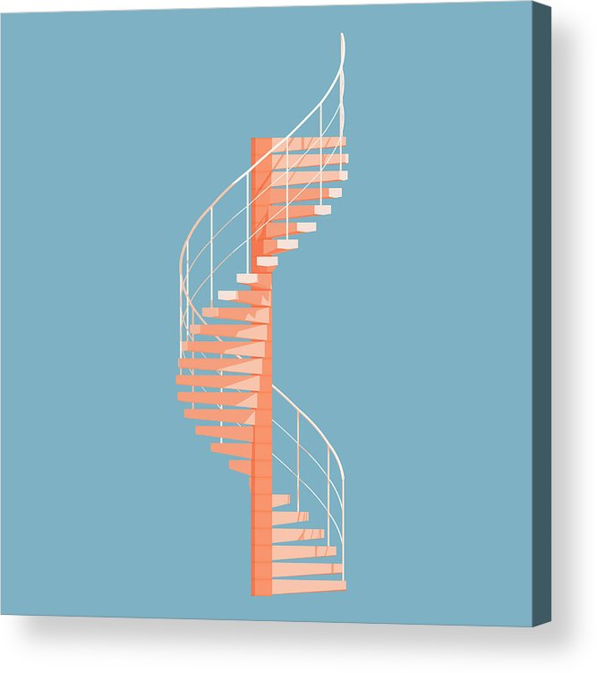 Architecture Acrylic Print featuring the digital art Helical Stairs by Peter Cassidy