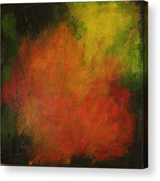 Square Acrylic Print featuring the painting Red Haze by Jim Ellis
