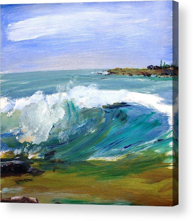 Ogunquit Beach Acrylic Print featuring the painting Ogunquit Beach Wave by Scott Nelson