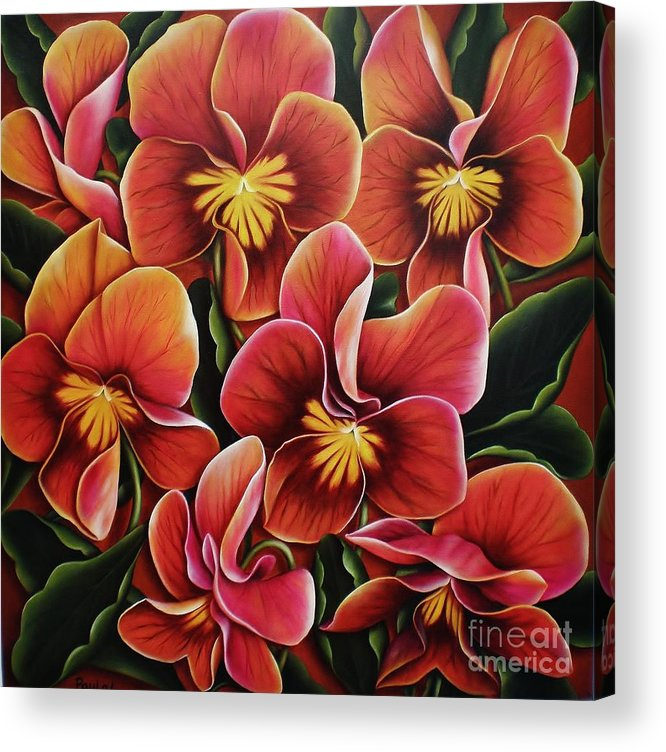 Pansies Acrylic Print featuring the painting Perfect Love by Paula L
