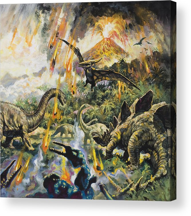Dinosaurs Acrylic Print featuring the painting Dinosaurs And Volcanoes by English School