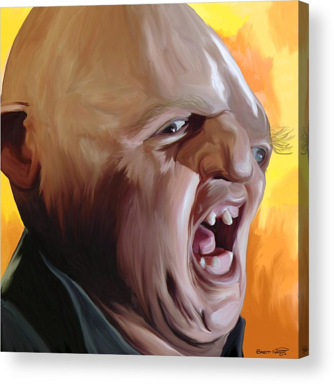 Sloth Goonies Chunk Baby Ruth Hey You Guys Deformed Goondocks Movie 80\'s Pop Art Painting Yelling Screaming  Acrylic Print featuring the painting Sloth From Goonies by Brett Hardin