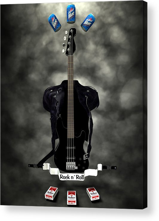 Rock N Roll Acrylic Print featuring the digital art Rock N Roll Crest-the Bassist by Frederico Borges
