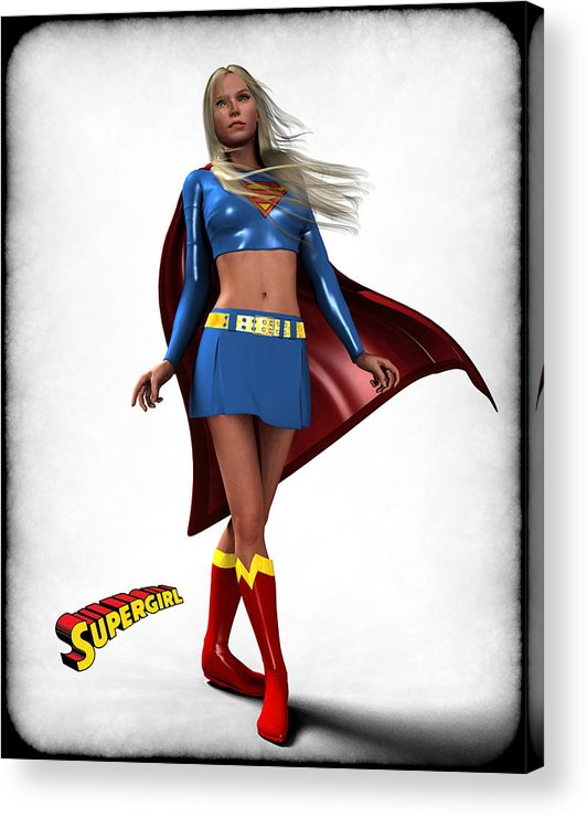 Super Heroe Acrylic Print featuring the digital art Super Girl by Frederico Borges