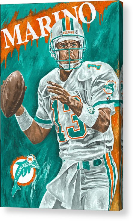 Dan Marino Miami Dolphins Football Quarterback Sports David Courson Acrylic Print featuring the painting Surveying The Field by David Courson