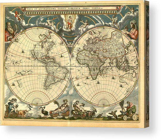 Vintage Acrylic Print featuring the digital art World Map by Gary Grayson