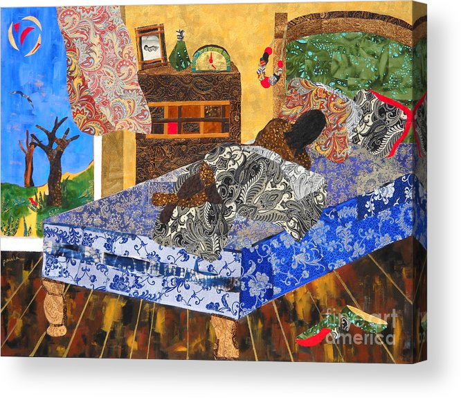 Collage Acrylic Print featuring the mixed media 5 Am by Paula Drysdale Frazell