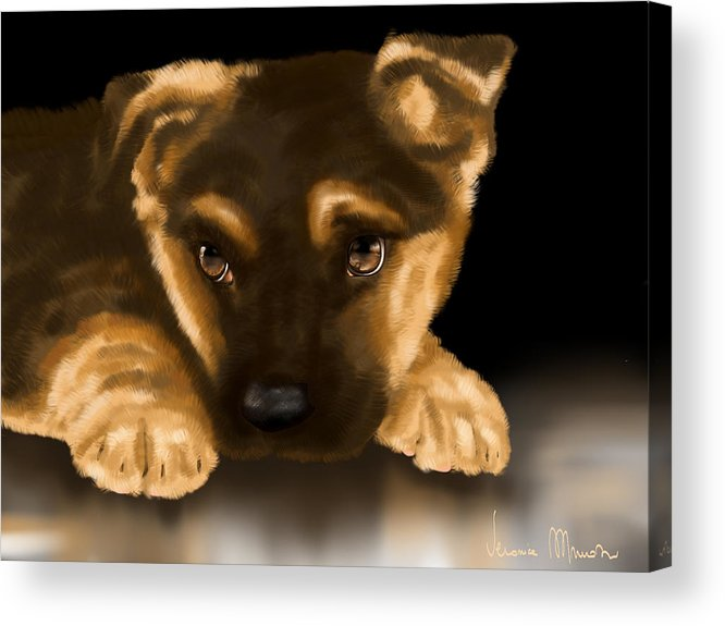 Digital Acrylic Print featuring the painting Beautiful Puppy by Veronica Minozzi