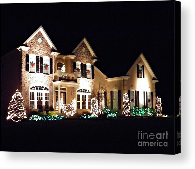 House Acrylic Print featuring the photograph Decorated For Christmas by Sarah Loft