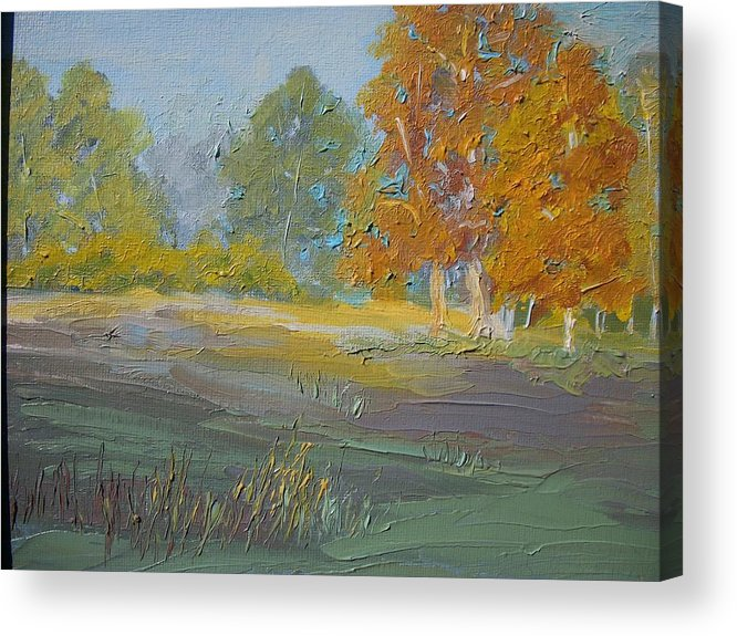 Landscape Acrylic Print featuring the painting Fall Field by Dwayne Gresham