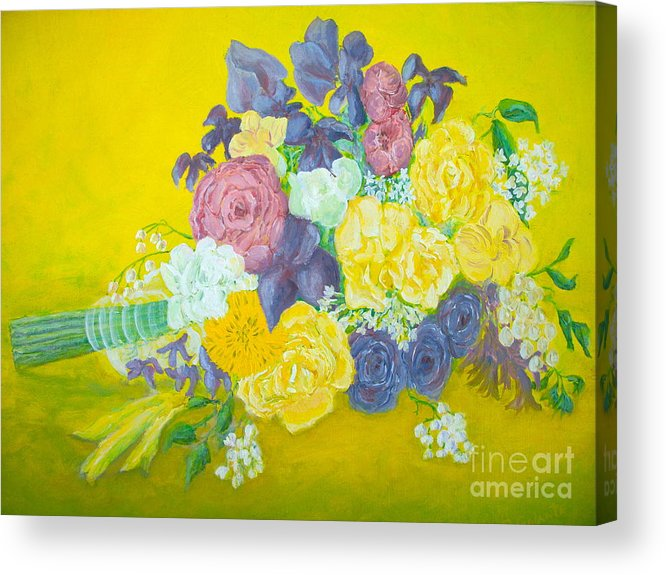 Wedding Bouquet Acrylic Print featuring the painting Jen's Wedding Bouquet by Paul Galante