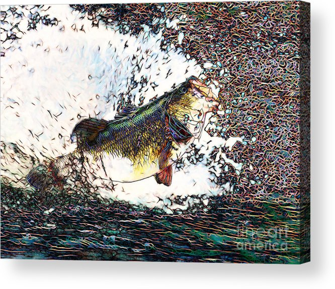 Largemouth Acrylic Print featuring the photograph Largemouth Bass P180 by Wingsdomain Art and Photography