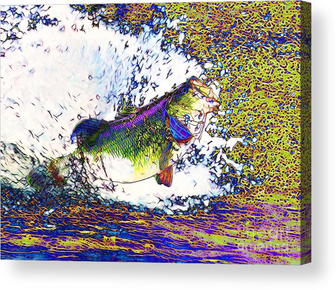 Largemouth Acrylic Print featuring the photograph Largemouth Bass P68 by Wingsdomain Art and Photography