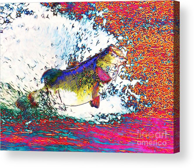 Largemouth Acrylic Print featuring the photograph Largemouth Bass by Wingsdomain Art and Photography