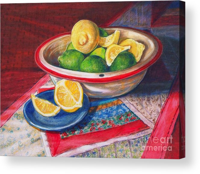 Drawing Acrylic Print featuring the drawing Lemons And Limes by Joy Nichols
