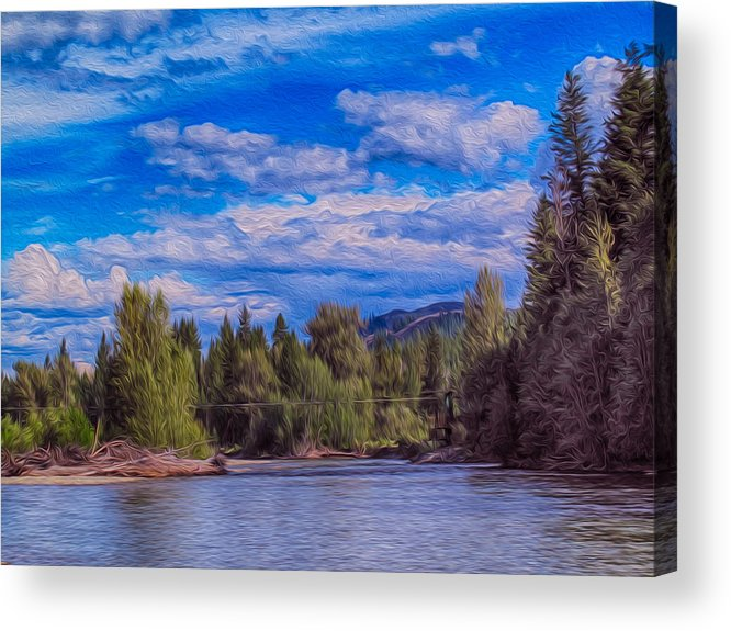 North Cascades Acrylic Print featuring the painting Methow River Crossing by Omaste Witkowski