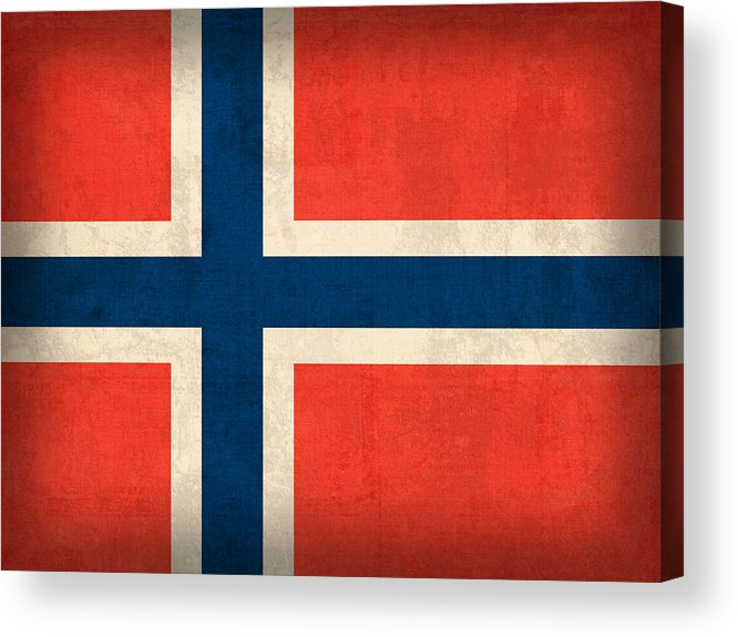Norway Flag Distressed Vintage Finish Norwegian Oslo Scandinavian Europe Country Nation Acrylic Print featuring the mixed media Norway Flag Distressed Vintage Finish by Design Turnpike