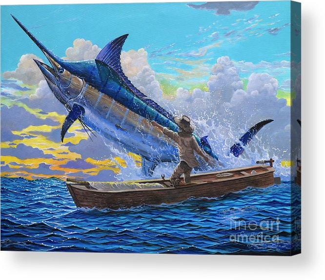 Marlin Acrylic Print featuring the painting Old Man's Battle Off00133 by Carey Chen